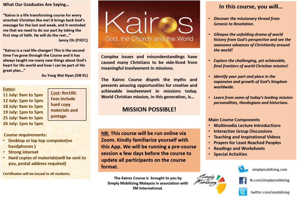 The Kairos Course – July 2020 Intake (Online)